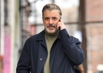 PATTERSON, NJ - FEBRUARY 05:  Chris Noth seen on the set of 'Equalizer' on February 5, 2021 in Patterson, New Jersey.  (Photo by James Devaney/GC Images)