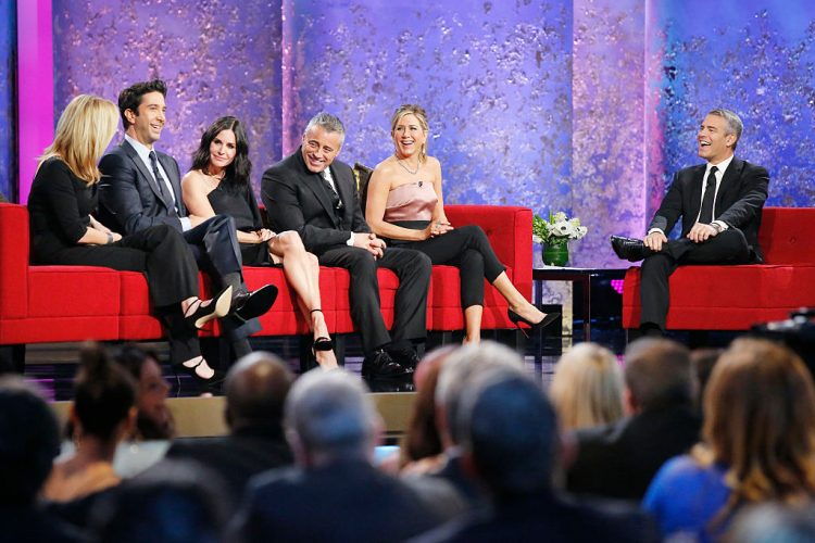 MUST SEE TV: AN ALL-STAR TRIBUTE TO JAMES BURROWS -- Pictured: (l-r) David Schwimmer, Courteney Cox, Matt LeBlanc, Jennifer Aniston, Andy Cohen -- (Photo by: Trae Patton/NBCU Photo Bank/NBCUniversal via Getty Images via Getty Images)