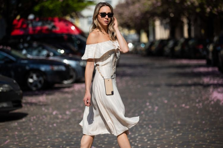 BERLIN, GERMANY - APRIL 29: Jessica Czakoni is seen wearing white off shoulder dress, Lazzo phone case, Saint Laurent shopping bag on April 29, 2020 in Berlin, Germany. (Photo by Christian Vierig/Getty Images)
