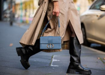 FRANKFURT AM MAIN, GERMANY - OCTOBER 26: Victoria Scheu is seen wearing beige trench dress Nehera, trench coat Burberry, light blue bag Dior Montaigne, chunky boots Zara on October 26, 2020 in Frankfurt am Main, Germany. (Photo by Christian Vierig/Getty Images)
