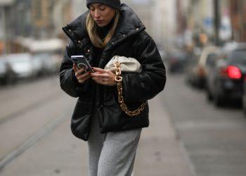 BERLIN, GERMANY - DECEMBER 10: Sonia Lyson wearing H&M hat, Nanushka jacket, Bottega Veneta bag, Zara pants and New Balance Sneaker on December 10, 2020 in Dusseldorf, Germany. (Photo by Jeremy Moeller/Getty Images)
