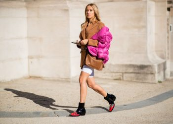 PARIS, FRANCE - SEPTEMBER 26: Jessica Mercedes Kirschner wearing pink puffer jacket is seen outside Maison Margiela during Paris Fashion Week Womenswear Spring/Summer 2019 on September 26, 2018 in Paris, France. (Photo by Christian Vierig/Getty Images)