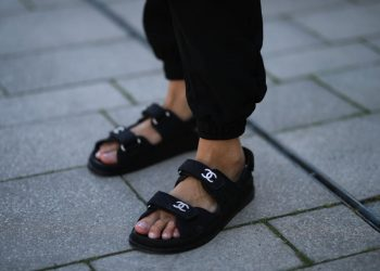 COLOGNE, GERMANY - JULY 24: Jessica Knura wearing Chanel sandals and Cotton Citizens pants on July 24, 2020 in Cologne, Germany. (Photo by Jeremy Moeller/Getty Images)